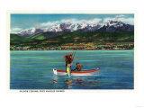 Salmon Fishing in Port Angeles Harbor - Port Angeles, WA Prints by  Lantern Press