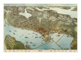 Panoramic Map of Seattle, Washington, Poster