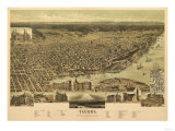 Washington - Panoramic Map of Tacoma Prints by  Lantern Press