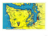 Sportsman and Tourist Map, Olympic Peninsula - Olympic National Park Prints