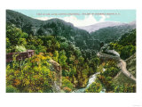 Aerial View of the Canyon, Southern Pacific Train - Los Gatos Canyon, CA Art by  Lantern Press