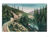 View of the Southern Pacific Railroad Loop Tunnel - Siskiyou Mountains, CA Prints by  Lantern Press