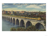 Train- Crossing Stone Arch Bridge, Minneapolis, MN - Minneapolis, MN Poster by  Lantern Press