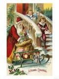 A Merry Christmas - Kids Running to Greet Santa Prints