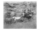 Stagecoach Carrying Men, Women & Children Photograph - Hot Springs, SD Posters by  Lantern Press