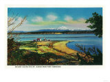 Whidby Island and Mt. Baker from Port Townsend - Port Townsend, WA Art by  Lantern Press