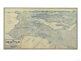 Washington - Panoramic Map of Seattle Prints by  Lantern Press