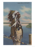 Northwest Indian Chief in Full Regalia - Northwest USA Posters by  Lantern Press