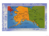 Alaska - Greetings From Alaska Map Prints