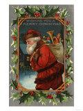 Wishing You a Merry Christmas - Santa Marching Art by  Lantern Press