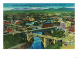 Arial View of Spokane, WA - Spokane, WA Art by  Lantern Press