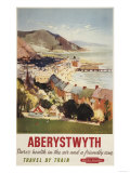 Aberystwyth, England - Aerial of Coast British Railways Poster Prints