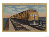 Train- Crossing Great Salt Lake, Ogden, Utah - Ogden, UT Posters by  Lantern Press