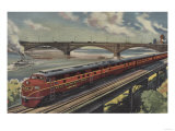 St. Louis, Missouri, Gulf Mobile & Ohio Train by River - St. Louis, MO Poster by  Lantern Press