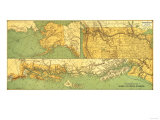 Alaskan Excursion Steam Route - Panoramic Map Prints by  Lantern Press