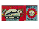 Red Star Salmon Can Label - Ketchican, AK Prints