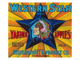 Western Star Apple Label - Yakima, WA Prints by  Lantern Press