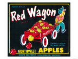 Red Wagon Apple Label - Yakima, WA Prints by  Lantern Press