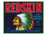 Redskin Apple Label - Yakima, WA Art by  Lantern Press