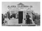 Man in Front of Alaska Clothing Co. in Anchorage Photograph Prints by  Lantern Press