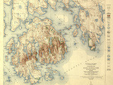 Acadia National Park - Topographic Panoramic Map Kunstdrucke