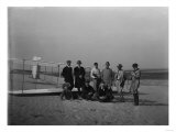 Group portrait in front of glider at Kill Devil Hill Photograph - Kitty Hawk, NC Prints