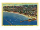 Yacht Harbor, The Palisades, and Santa Monica Beach - Santa Monica, CA Prints by  Lantern Press