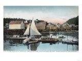 Waterfront View of the Floating Dock - Wrangell, AK Prints by  Lantern Press