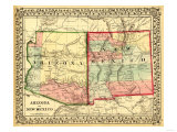 Arizona and New Mexico - Panoramic Map and New Mexico Prints by  Lantern Press