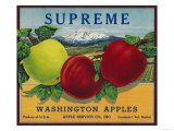 Supreme Apple Label - Washington State Prints by  Lantern Press
