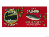 Meteor Salmon Can Label - San Francisco, CA Prints by  Lantern Press