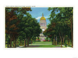 Augusta, Maine - State Park View of the State Capitol Building Prints by  Lantern Press