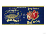 Tulip Salmon Can Label - Anacortes, WA Prints by  Lantern Press