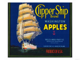 Clipper Ship Apple Label - Wenatchee, WA Prints by  Lantern Press
