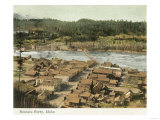 Aerial View of the Town and River - Bonners Ferry, ID Prints by  Lantern Press
