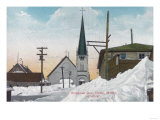 Winter View of Steadman Avenue Covered in Snow - Nome, AK Prints by  Lantern Press