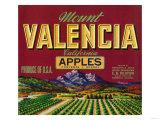 Mount Valencia Apple Label - Watsonville, CA Art by  Lantern Press