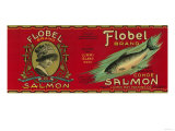 Flobel Salmon Can Label - Lummi Island, WA Art