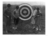 Women examining Archery Target Photograph - Washington, DC Posters