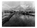 View of waterfront in Valdez, Alaska Photograph - Valdez, AK Prints by  Lantern Press