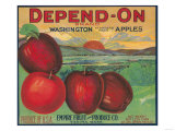 Depend On Apple Label - Yakima, WA Prints by  Lantern Press