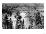 Aerial View of the Falls on Spokane River - Spokane, WA Prints by  Lantern Press
