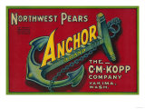 Anchor Pear Crate Label - Yakima, WA Prints by  Lantern Press
