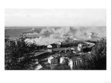 Aerial View of Town, Battleships in Distance - Port Angeles, WA Prints by  Lantern Press