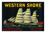 Western Shore Pear Crate Label - Hood, CA Prints by  Lantern Press