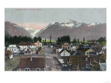 Aerial Summer View of the City - Valdez, AK Prints by  Lantern Press