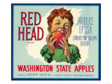 Red Head Apple Label - Wenatchee, WA Prints by  Lantern Press