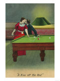 A Kiss off the Red, Couple Kissing Before Pool Shot Art by  Lantern Press