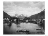 Sitka, Alaska with Three Sisters Photograph - Sitka, AK Art by  Lantern Press