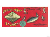 Pride of the Navy Salmon Can Label - Bellingham, WA Art